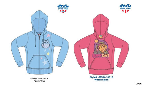 recalled sweatshirts