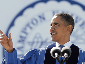 President Barack Obama addresses the nearly 1,100 graduates of Hampton University, a historically black university, at the school's Armstrong Stadium, in Hampton, Va., Sunday, May 9, 2010.